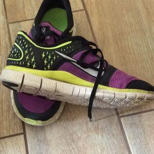 Nike Shoes - Nike Free run 3 sneakers purple black and yellow